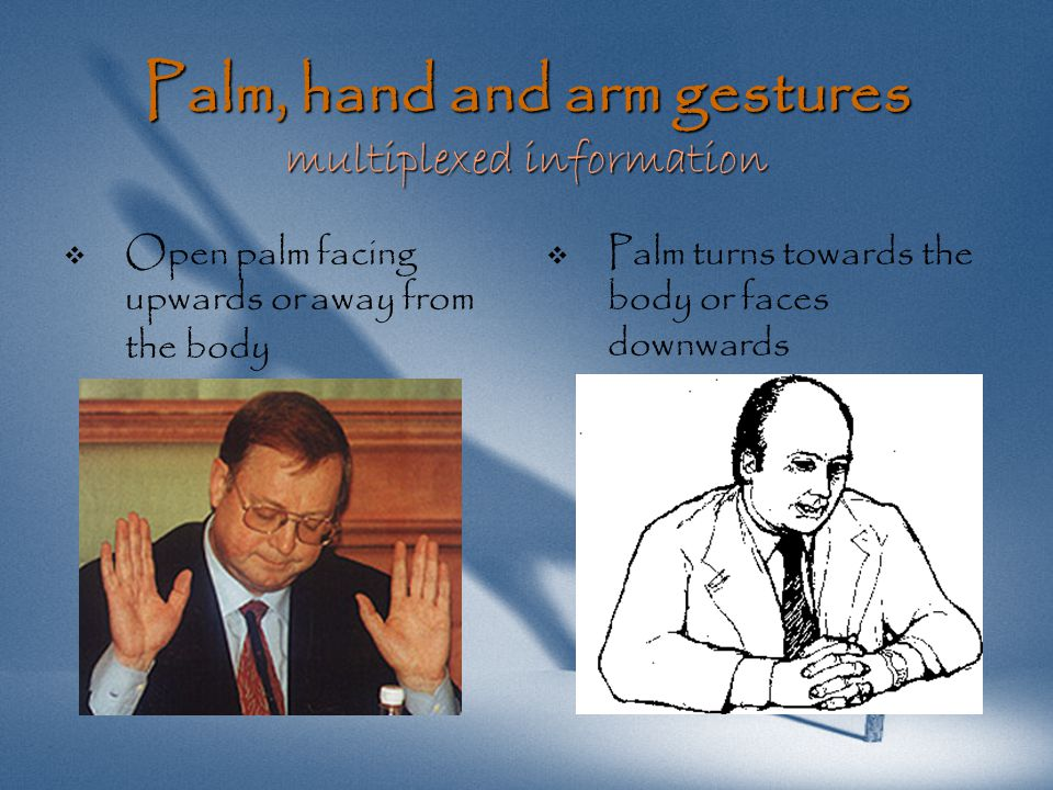 Palm, hand and arm gestures superior gestures   Palm faces the floor   Pointing fore-finger
