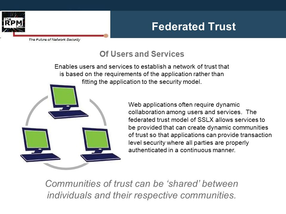 Federated Trust Web applications often require dynamic collaboration among users and services. The federated trust model of SSLX allows services to be