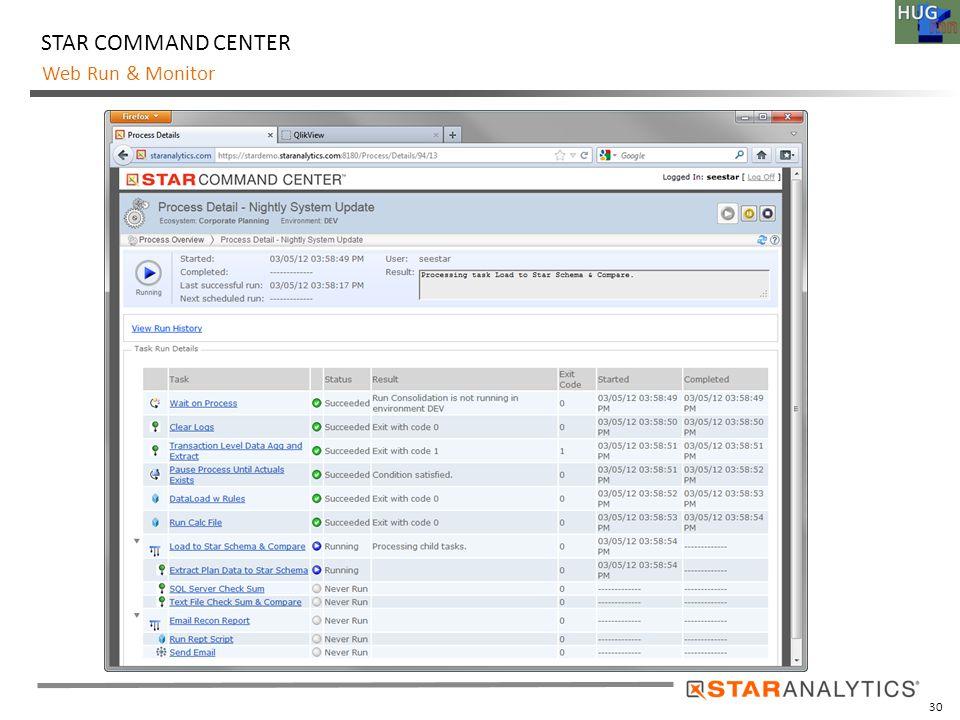 30 Web Run & Monitor STAR COMMAND CENTER