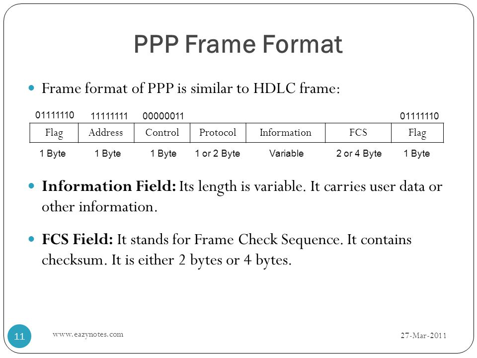 PPP Frame Format Frame format of PPP is similar to HDLC frame: Information Field: Its length is variable.