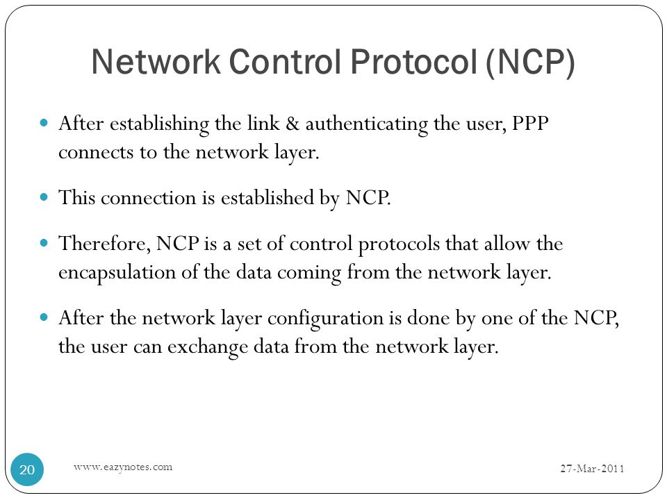 After establishing the link & authenticating the user, PPP connects to the network layer.