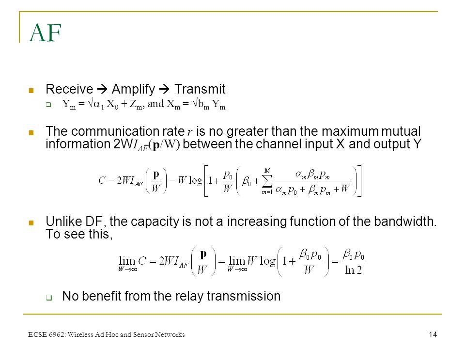14 ECSE 6962: Wireless Ad Hoc and Sensor Networks AF Receive  Amplify  Transmit  Y m = √  1 X 0 + Z m, and X m = √b m Y m The communication rate r