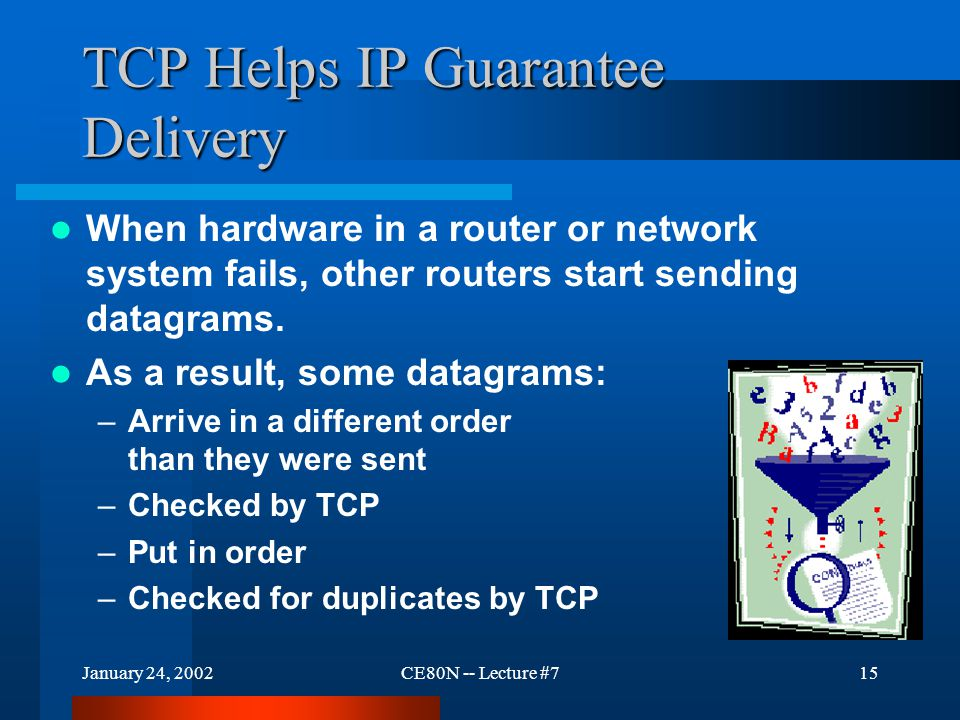January 24, 2002CE80N -- Lecture #715 TCP Helps IP Guarantee Delivery When hardware in a router or network system fails, other routers start sending datagrams.