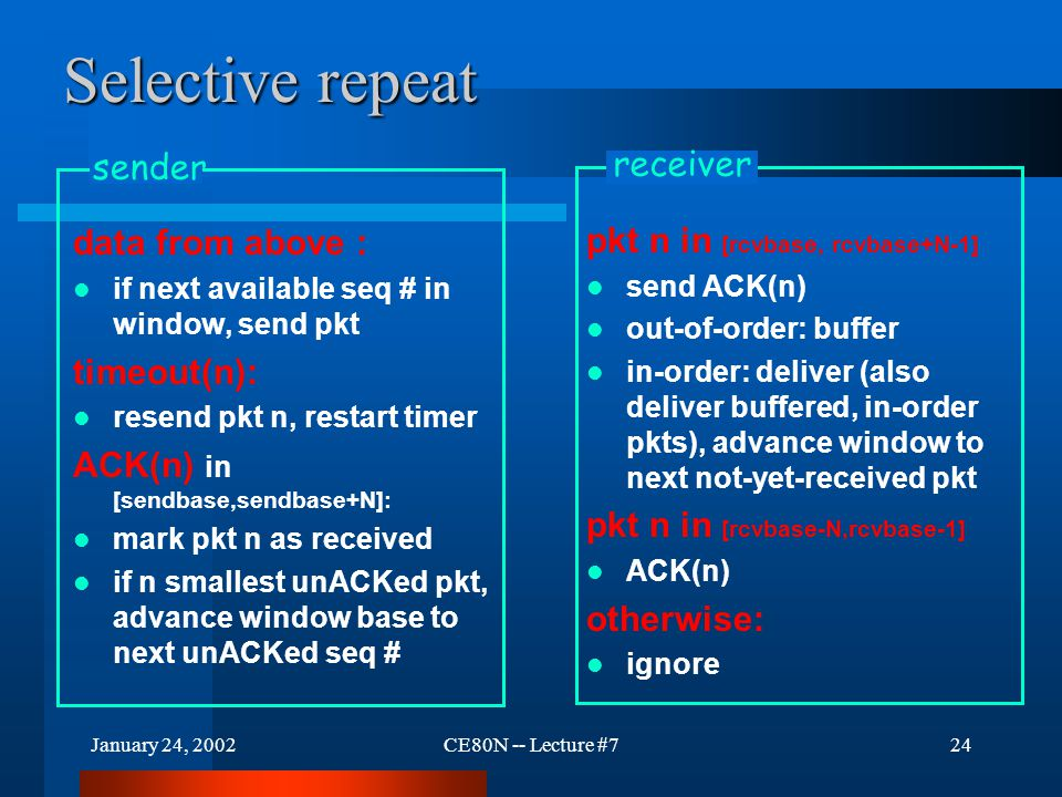 January 24, 2002CE80N -- Lecture #724 Selective repeat data from above : if next available seq # in window, send pkt timeout(n): resend pkt n, restart timer ACK(n) in [sendbase,sendbase+N]: mark pkt n as received if n smallest unACKed pkt, advance window base to next unACKed seq # sender pkt n in [rcvbase, rcvbase+N-1] send ACK(n) out-of-order: buffer in-order: deliver (also deliver buffered, in-order pkts), advance window to next not-yet-received pkt pkt n in [rcvbase-N,rcvbase-1] ACK(n) otherwise: ignore receiver