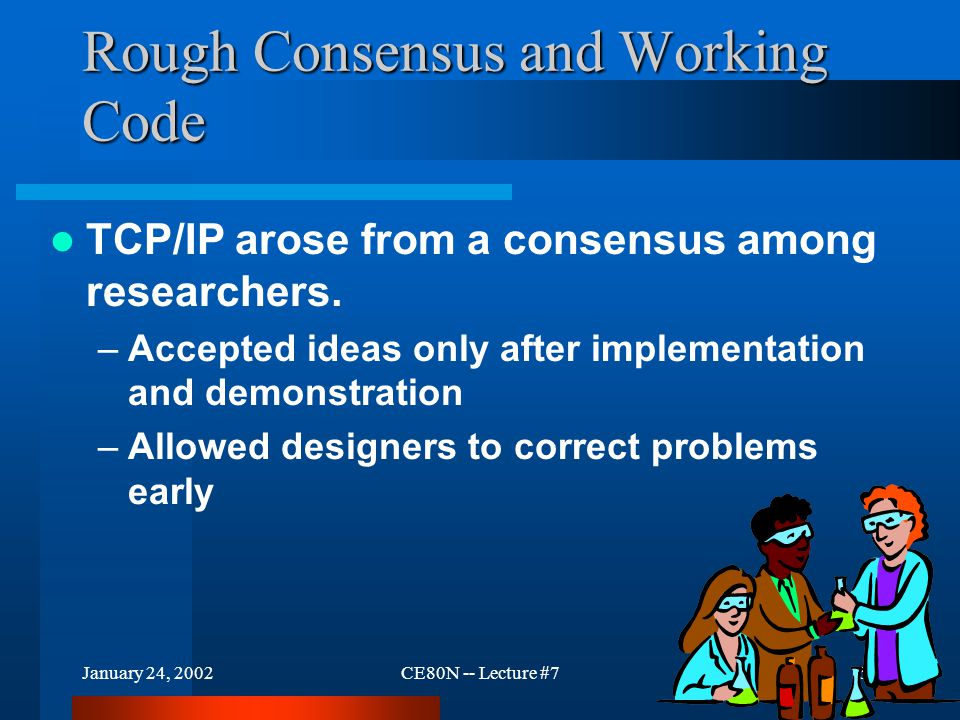 January 24, 2002CE80N -- Lecture #759 Rough Consensus and Working Code TCP/IP arose from a consensus among researchers.