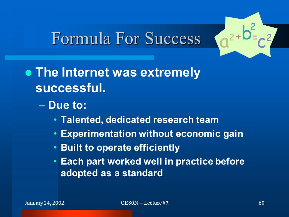 January 24, 2002CE80N -- Lecture #760 Formula For Success The Internet was extremely successful.