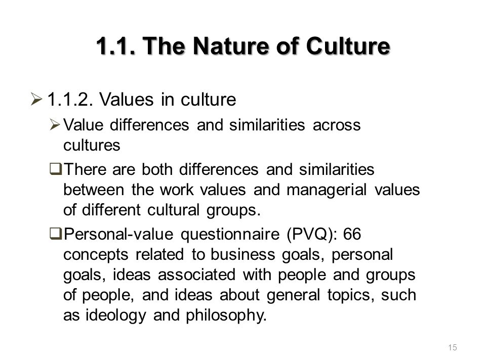 1.1.The Nature of Culture  1.1.2.