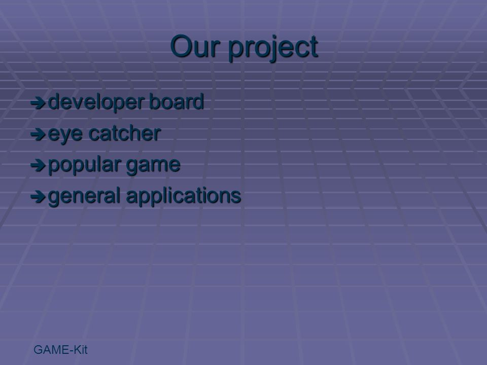 GAME-Kit Our project  developer board  eye catcher  popular game  general applications