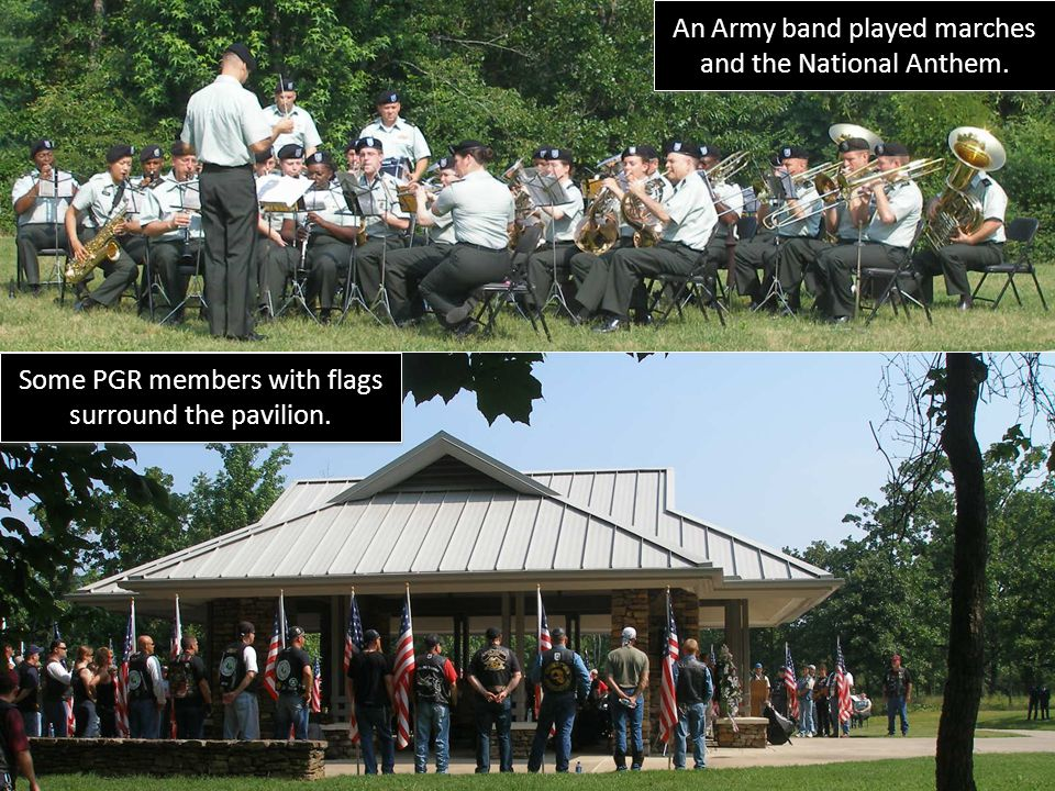 An Army band played marches and the National Anthem.