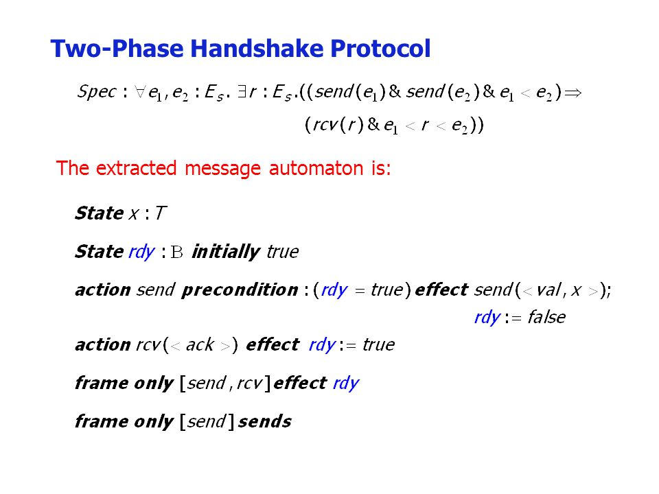 Two-Phase Handshake Protocol The extracted message automaton is: