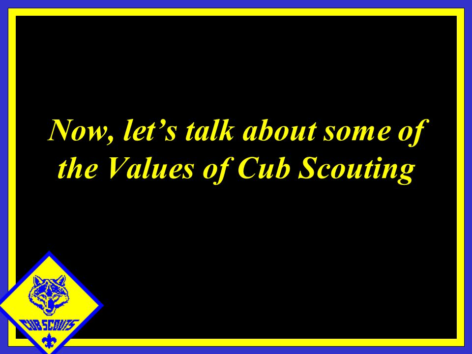Now, let's talk about some of the Values of Cub Scouting