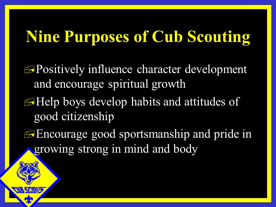 Nine Purposes of Cub Scouting, Positively influence character development and encourage spiritual growth, Help boys develop habits and attitudes of good citizenship, Encourage good sportsmanship and pride in growing strong in mind and body