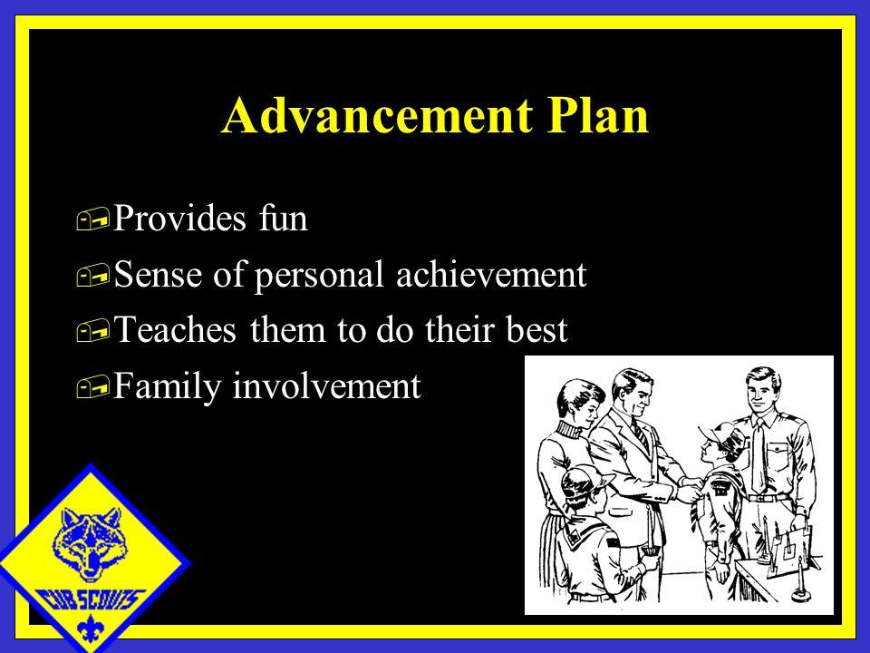 Advancement Plan, Provides fun, Sense of personal achievement, Teaches them to do their best, Family involvement