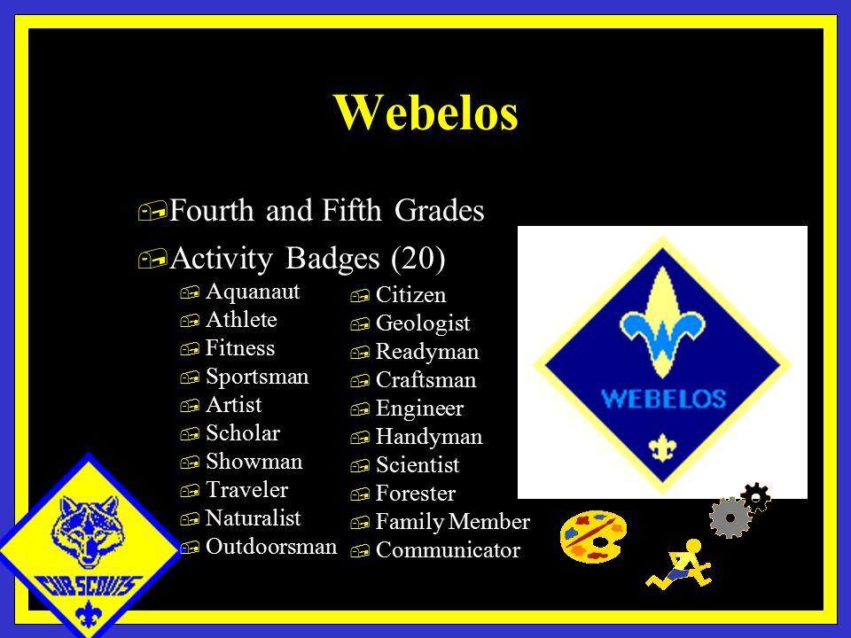 Webelos, Fourth and Fifth Grades, Activity Badges (20), Aquanaut, Athlete, Fitness, Sportsman, Artist, Scholar, Showman, Traveler, Naturalist, Outdoorsman, Citizen, Geologist, Readyman, Craftsman, Engineer, Handyman, Scientist, Forester, Family Member, Communicator
