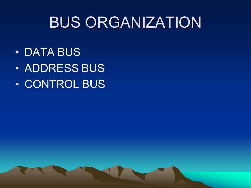 BUS ORGANIZATION DATA BUS ADDRESS BUS CONTROL BUS