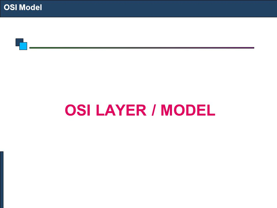 OSI Model OSI LAYER / MODEL