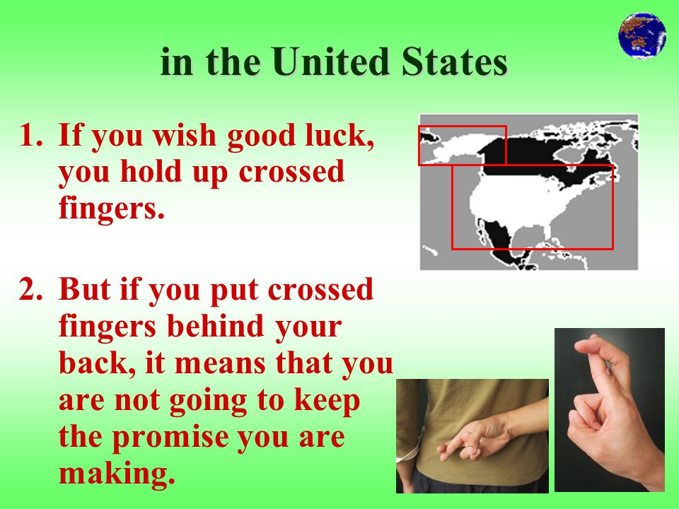 2. crossing the first two fingers
