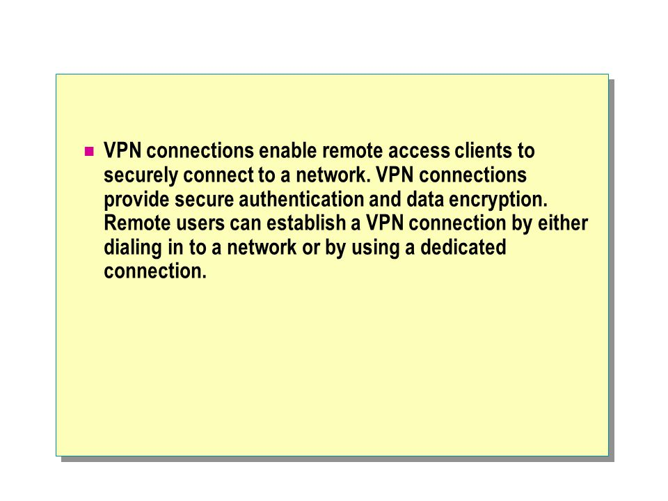 VPN connections enable remote access clients to securely connect to a network.
