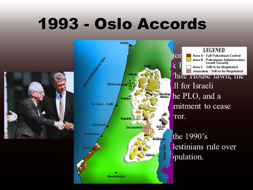 1978 - Camp David Accords Israel agrees to return the entire Sinai Peninsula - constituting 80 percent of Israel s land mass - in exchange for normalization of relations with Egypt.