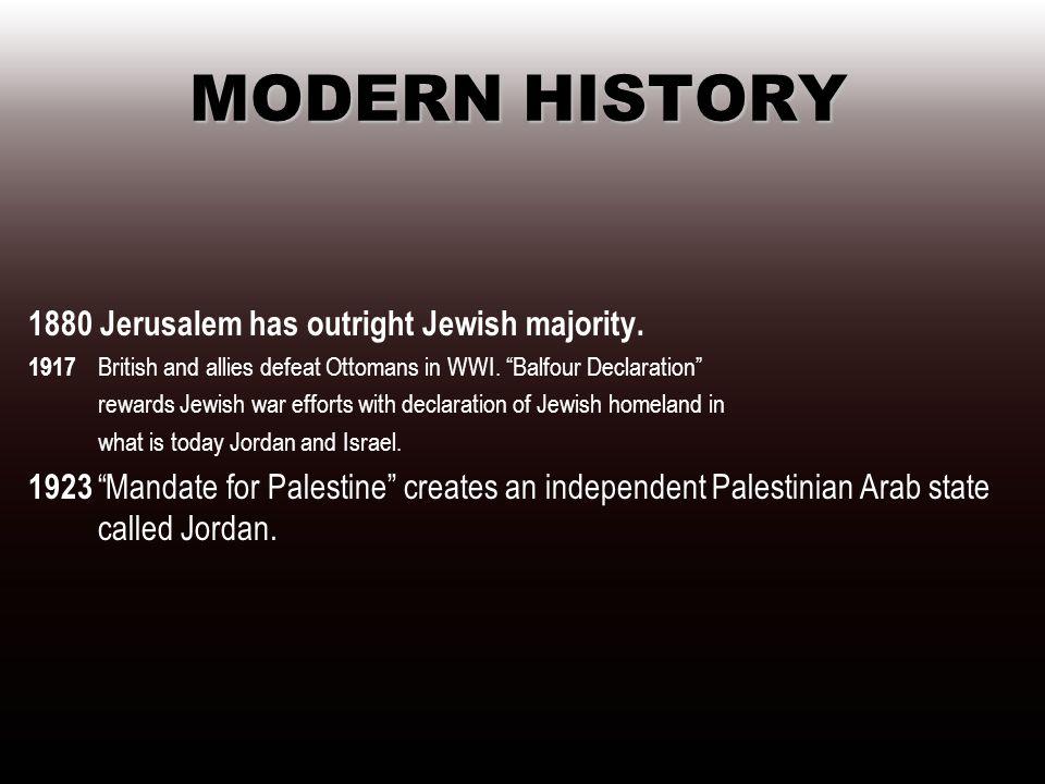 MODERN HISTORY 1880 Jerusalem has outright Jewish majority.