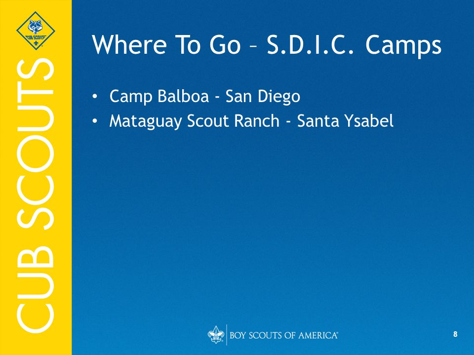 8 Where To Go – S.D.I.C. Camps Camp Balboa - San Diego Mataguay Scout Ranch - Santa Ysabel
