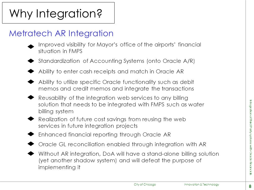 City of Chicago Innovation & Technology 8 Integration of Third Party systems with Oracle Financials Why Integration.