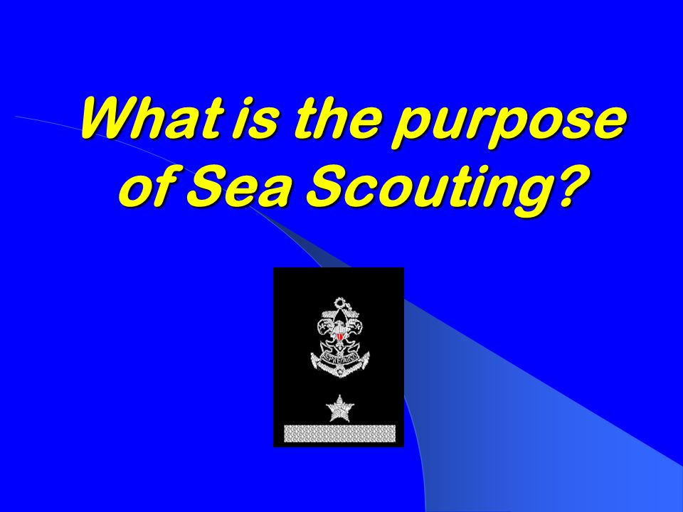 COURSE OBJECTIVES  To introduce learners to the techniques of Sea Scouting  To review the programs, activities, advancement, and recognition unique to Sea Scouting  To discuss safety policies and procedures  To review the resources available to Sea Scout Ships