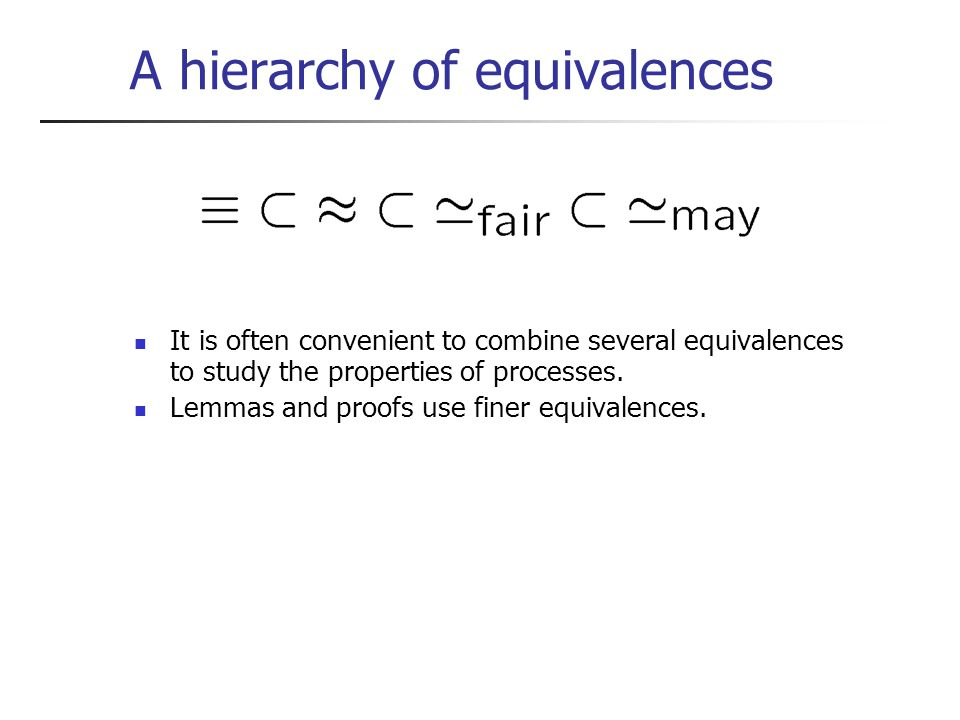 A hierarchy of equivalences It is often convenient to combine several equivalences to study the properties of processes.