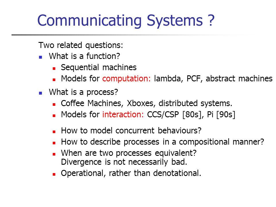 Encoding Process Mobility (2) Operational correspondence: