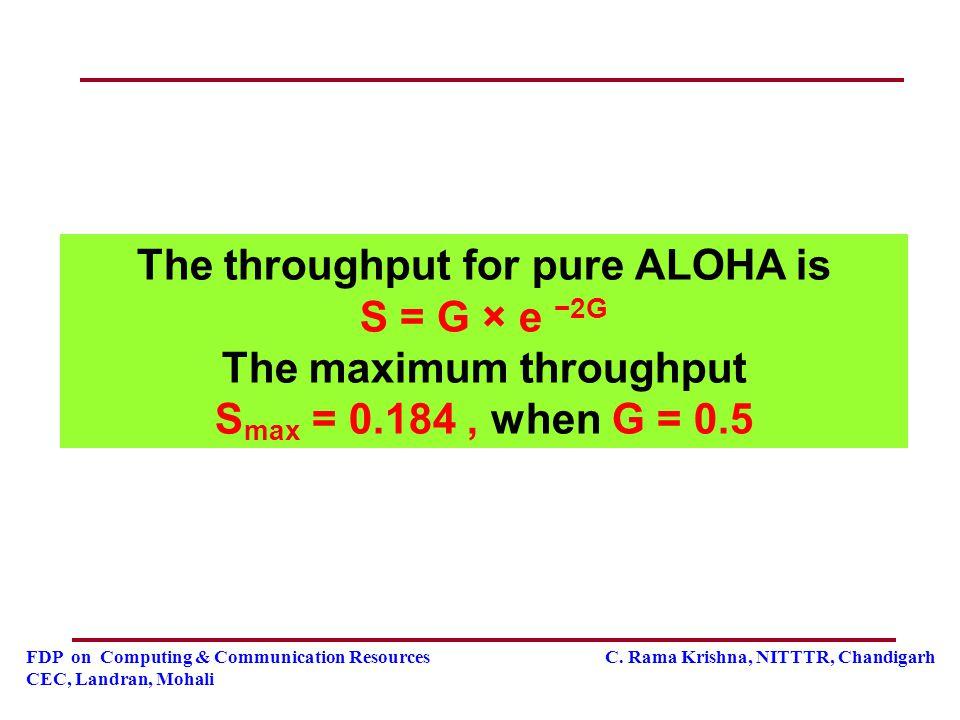 FDP on Computing & Communication Resources C. Rama Krishna, NITTTR, Chandigarh CEC, Landran, Mohali The throughput for pure ALOHA is S = G × e −2G The