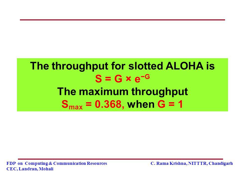 FDP on Computing & Communication Resources C. Rama Krishna, NITTTR, Chandigarh CEC, Landran, Mohali The throughput for slotted ALOHA is S = G × e −G T