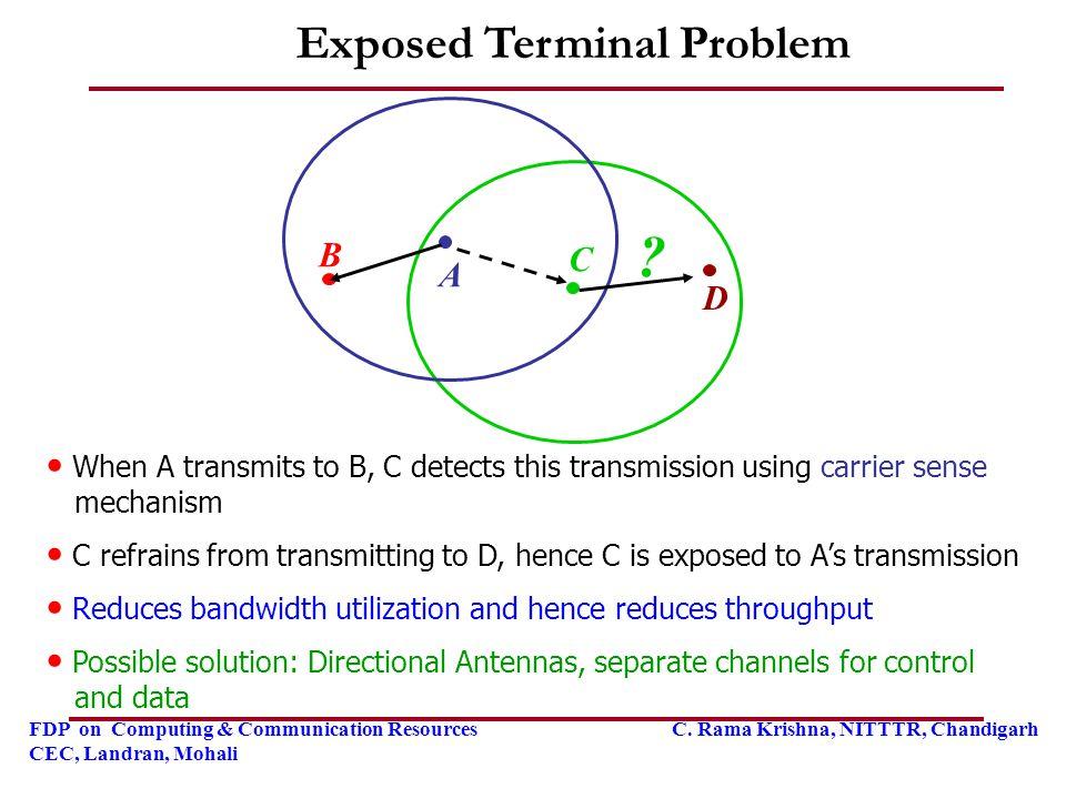 FDP on Computing & Communication Resources C. Rama Krishna, NITTTR, Chandigarh CEC, Landran, Mohali Exposed Terminal Problem D B C A ? When A transmit