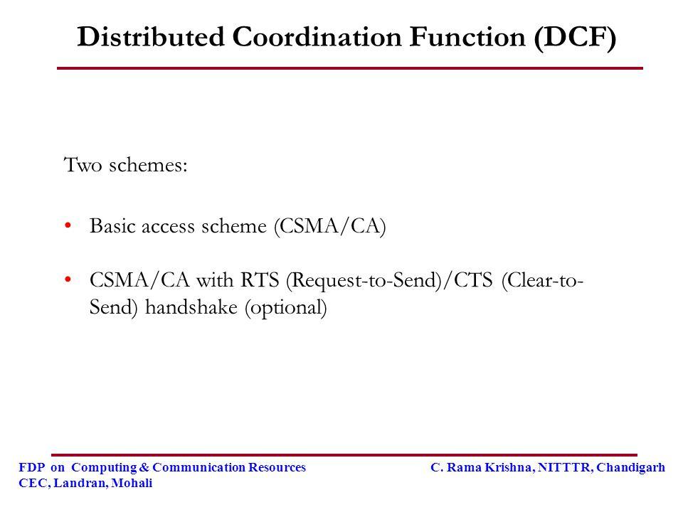 FDP on Computing & Communication Resources C. Rama Krishna, NITTTR, Chandigarh CEC, Landran, Mohali Two schemes: Basic access scheme (CSMA/CA) CSMA/CA