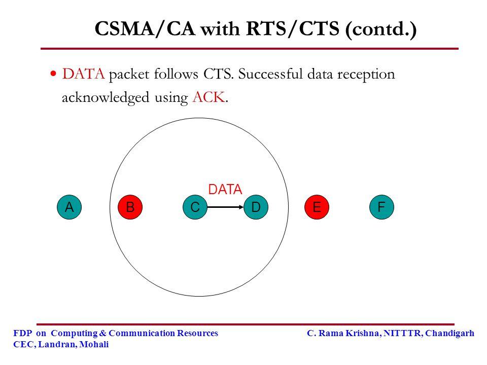 FDP on Computing & Communication Resources C. Rama Krishna, NITTTR, Chandigarh CEC, Landran, Mohali CSMA/CA with RTS/CTS (contd.) CFABED DATA DATA pac