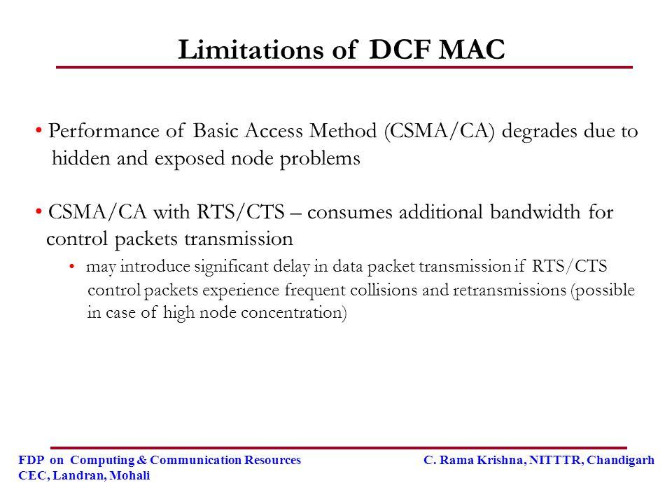 FDP on Computing & Communication Resources C. Rama Krishna, NITTTR, Chandigarh CEC, Landran, Mohali Limitations of DCF MAC Performance of Basic Access