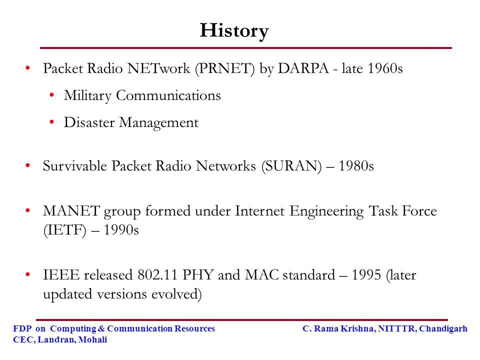 FDP on Computing & Communication Resources C. Rama Krishna, NITTTR, Chandigarh CEC, Landran, Mohali History Packet Radio NETwork (PRNET) by DARPA - la