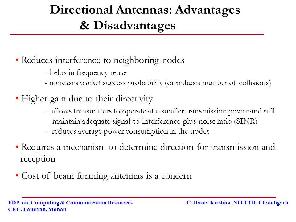 FDP on Computing & Communication Resources C. Rama Krishna, NITTTR, Chandigarh CEC, Landran, Mohali Directional Antennas: Advantages & Disadvantages R