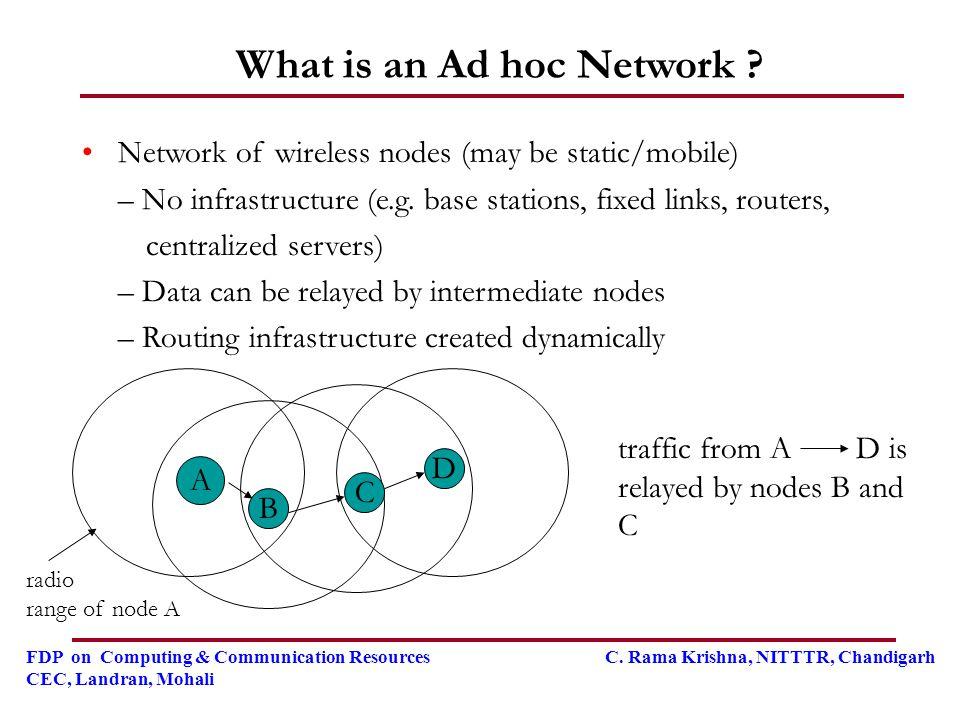 FDP on Computing & Communication Resources C. Rama Krishna, NITTTR, Chandigarh CEC, Landran, Mohali What is an Ad hoc Network ? Network of wireless no