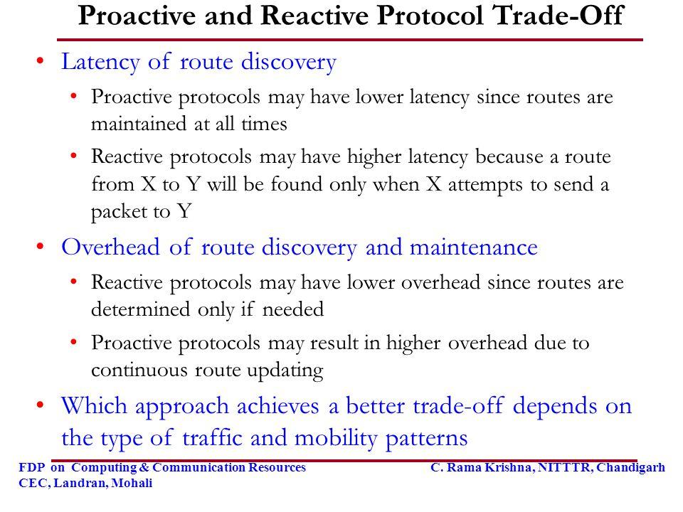 FDP on Computing & Communication Resources C. Rama Krishna, NITTTR, Chandigarh CEC, Landran, Mohali Proactive and Reactive Protocol Trade-Off Latency