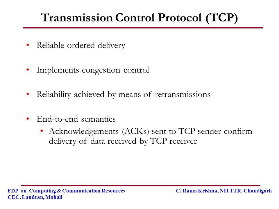 FDP on Computing & Communication Resources C. Rama Krishna, NITTTR, Chandigarh CEC, Landran, Mohali Transmission Control Protocol (TCP) Reliable order