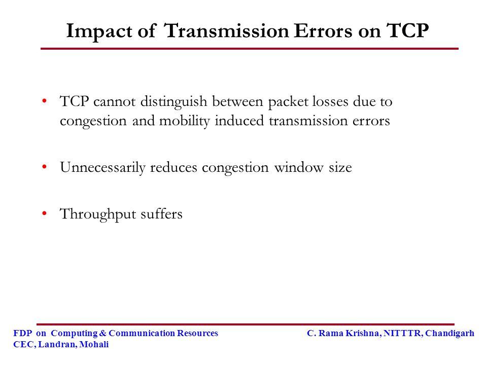 FDP on Computing & Communication Resources C. Rama Krishna, NITTTR, Chandigarh CEC, Landran, Mohali Impact of Transmission Errors on TCP TCP cannot di
