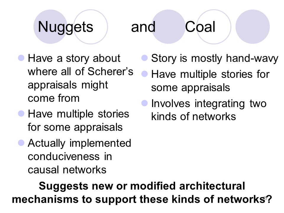 Nuggets and Coal Have a story about where all of Scherer's appraisals might come from Have multiple stories for some appraisals Actually implemented c