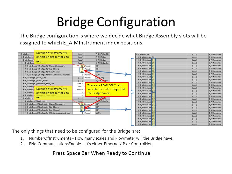 Bridge Configuration The Bridge configuration is where we decide what Bridge Assembly slots will be assigned to which E_AIMInstrument index positions.