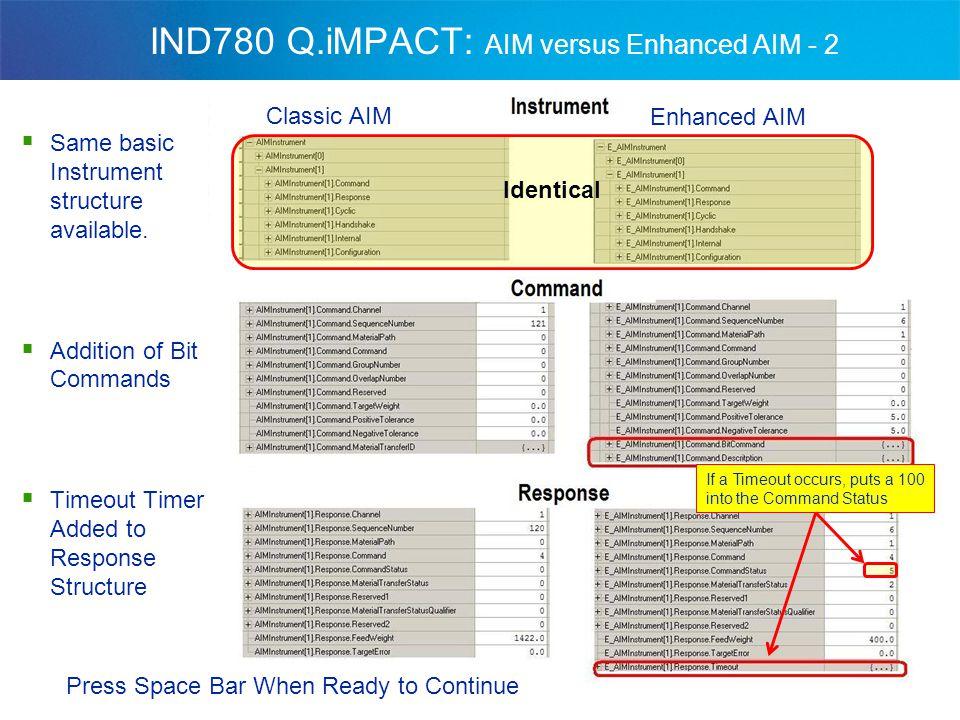 IND780 Q.iMPACT: AIM versus Enhanced AIM - 2  Same basic Instrument structure available.