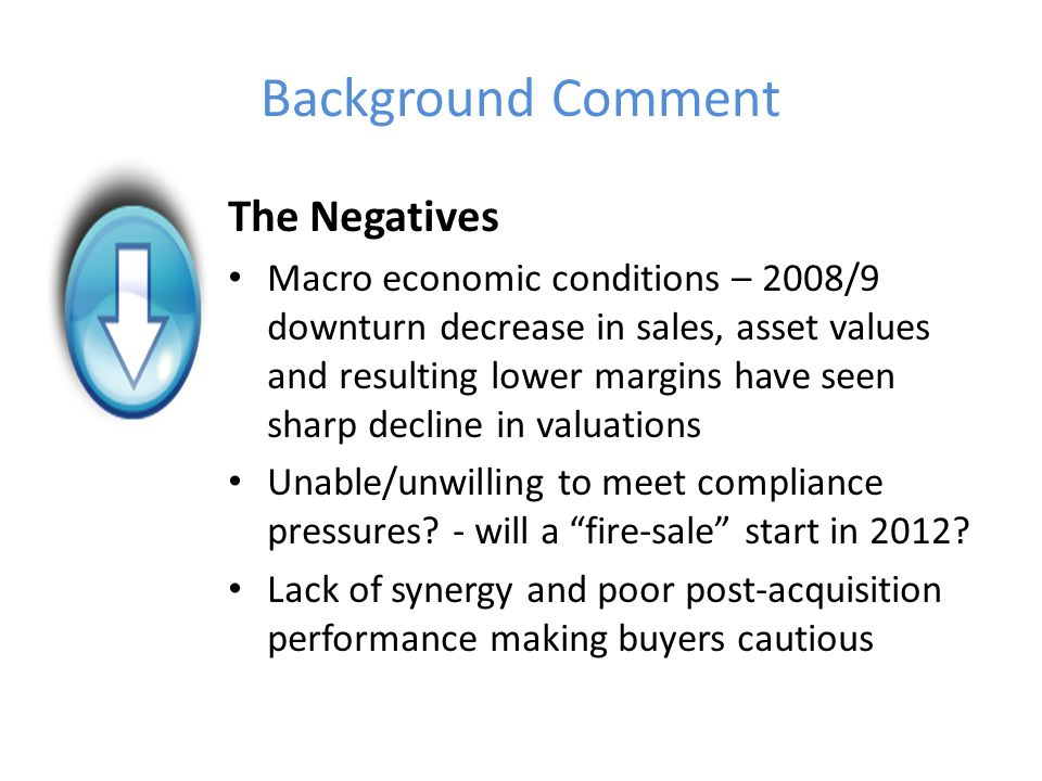 Background Comment The Positives RDR Practices trading post January 2013 will be worth more Consolidators - the hunt for scale Distribution capture by product providers Wealth management focus – International F S groups looking to expand into UK wealth management