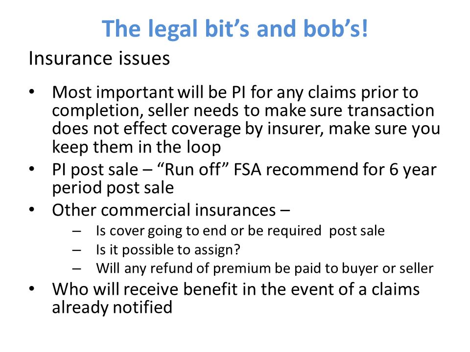 The legal bit's and bob's.