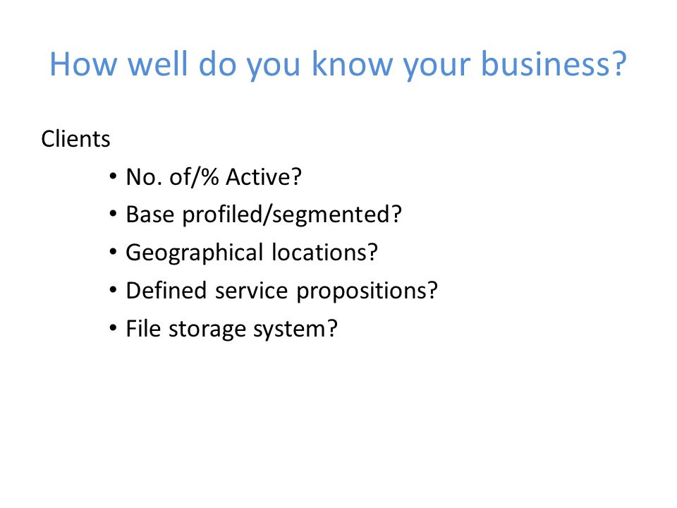 How well do you know your business. Clients No. of/% Active.