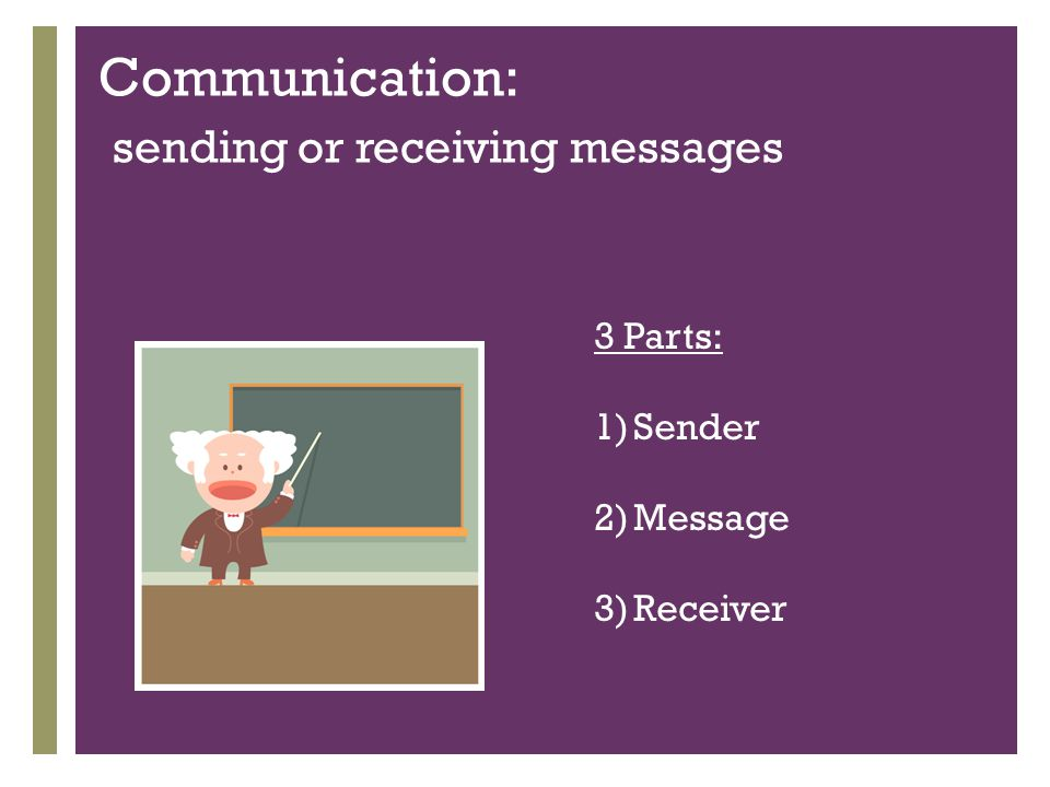 + Communication: sending or receiving messages 3 Parts: 1)Sender 2)Message 3)Receiver