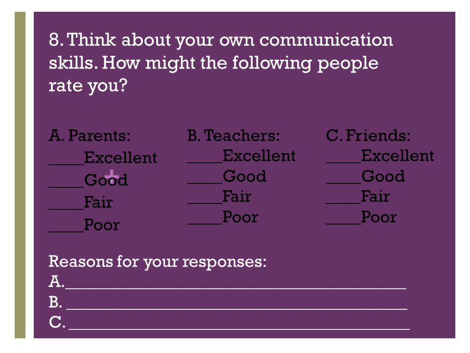 + 8. Think about your own communication skills. How might the following people rate you.