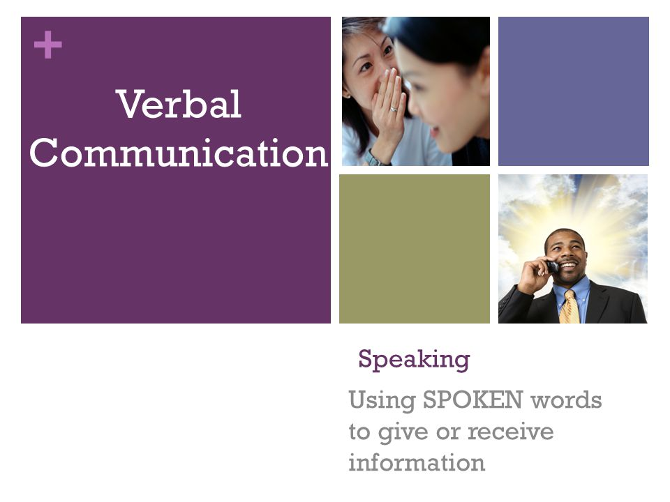 + Speaking Using SPOKEN words to give or receive information Verbal Communication